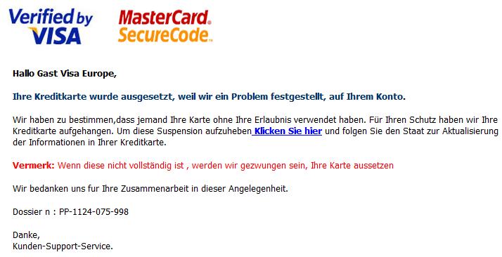 Ihre Kreditkarte wurde ausgesetzt, weil wir ein Problem festgestellt, auf Ihrem Konto. - Spam, Phishing Mail