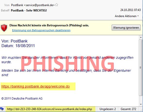 Phishing PostBank - Sehr Wichtig
