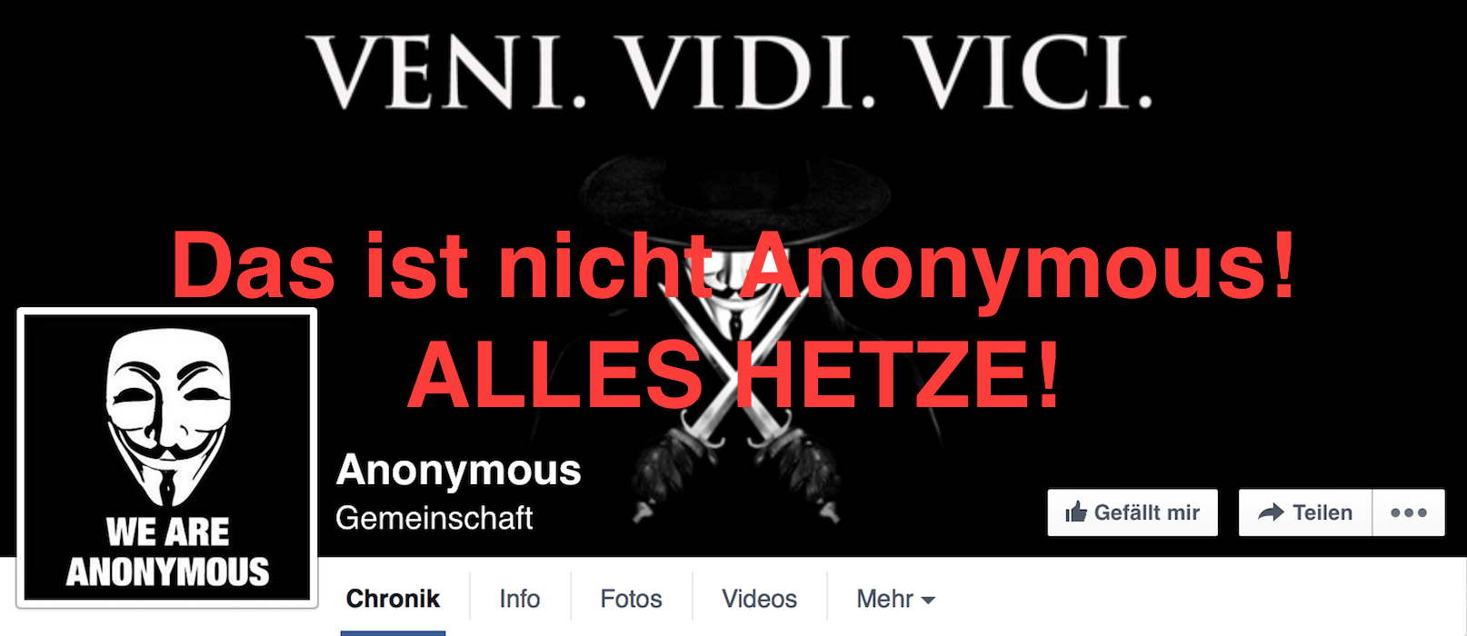 Anonymous Kollektiv - Fake - Falsche Anonymous Facebook Seite