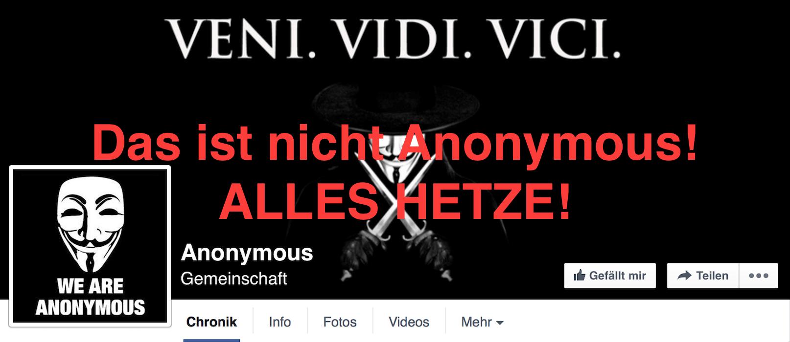 Anonymous Kollektiv - Fake - Falsche Anonymous Facebook Seite