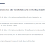 Deine Facebook Informationen – Facebook Backup – Facebook Datensicherung