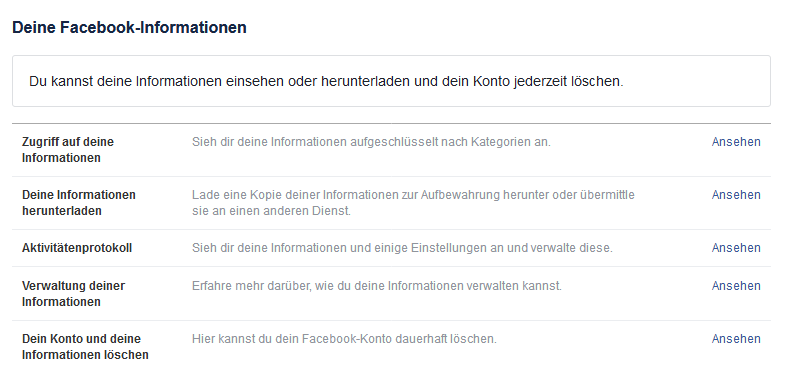 Deine Facebook Informationen - Facebook Backup - Facebook Datensicherung