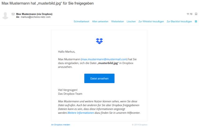 Dropbox - So sieht eine echte Freigabemail aus