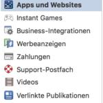 Facebook – Apps und Websites – Sicherheit und Privatsphäre