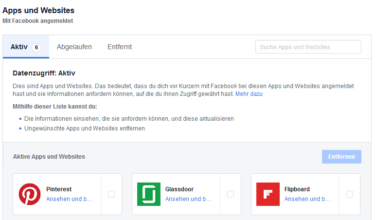 Facebook Apps und Websites - Verknüpfungen mit Facebook-Konto prüfen