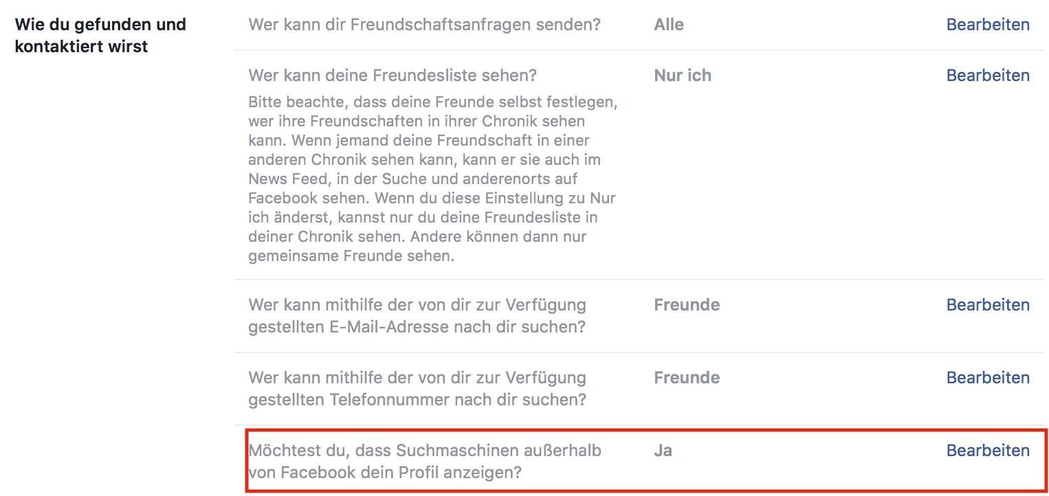 Facebook Privatsphäre - Möchtest Du, dass Suchmaschinen außerhalb von Facebook dein Profil anzeigen