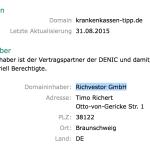 Krankenkassen-Tipp.de – Timo Richert – Richvestor GmbH Spam-Mail Abzocke – Adressdaten – Denic