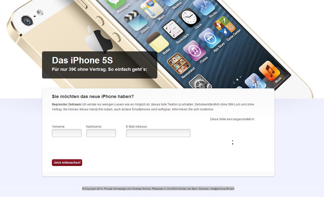 iPhone 5S, ohne Vertrag, ohne Sim-Lock für 39 EUR. Betrug, Spam, Fake in ihrem E-Mail Postfach von Steffi Glaser und Michael Schütz